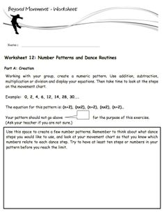 Dance Equations provides worksheet in our eBooks as well. These help the students organize their dances and thoughts. This worksheet if from an exercise where students use mathematical patterns to create dance routines. It's a lot of fun! #math #dance