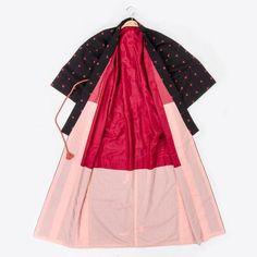 Silk Lined Black Cotton Kimono Robe