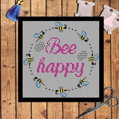 Bee happy - cross stitch pattern pdf. The pattern will fit nicely in a 6x6 frame (or 15 cm x 15 cm) on 14 count fabric.  ★★★ Pattern specifications ★★★ This listing is for the PDF pattern only! Just download, print and cross-stitch!  ➔ Stitches Used: Full Cross Stitch, backstitch. ➔ DMC Colors: 4 pieces (No. 310, 726, 3325, 3607) ➔ Design size in stitches: 68 x 68 ➔ Design size in inches and centimeters (approximately):  4.9 X 4.9 in or 12.3 X 12.3 cm (for 14 count Aida or 28 count evenweave…