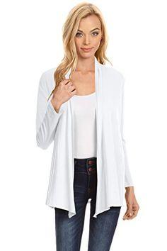 d7c4f8125d Simlu Womens Open Drape Cardigan Reg and Plus Size Cardigan Sweater Long  Sleeves - USA White