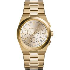 Michael Kors Mid-Size Golden Stainless Steel Channing Chronograph... ($175) ❤ liked on Polyvore