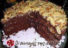 German Chocolate Cake, The Joy of Cooking recipe. Cake Recipes, Dessert Recipes, Dessert Ideas, Coconut Pecan Frosting, Cheesecake Tarts, Greek Desserts, Greek Recipes, Chocolate Sweets, German Chocolate