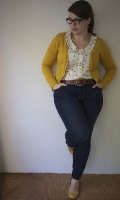 Super cute custom top with mustard yellow cardi and heels. - frocksandfroufrou