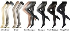 I found this fantastic article on mytights.comthought seen as we like out tights /panty hose might give you some insight to shopping  Technically denier relates to the weight (i.e. thickness...