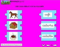 MATERIALES - Juegos LIM de lectoescritura: c  Se trata de juegos hechos con el editor de actividades EdiLim para trabajar la lectoescritura de manera divertida. Cada juego trabaja una letra y encontraremos actividades como: unir imagen con palabra, juego de memoria, ordenar sílabas y ordenar palabras para formar frases.  Descomprimir la carpeta JOC_EDILIM_C.zip Pulsar dos veces sobre el archivo repasamos_la_c.html.  http://arasaac.org/materiales.php?id_material=1199