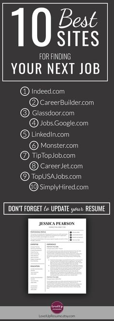 10 Best Sites for Finding Your Next Job. Job search and Career tips.  #jobsearch #careertips #jobtips #career #job