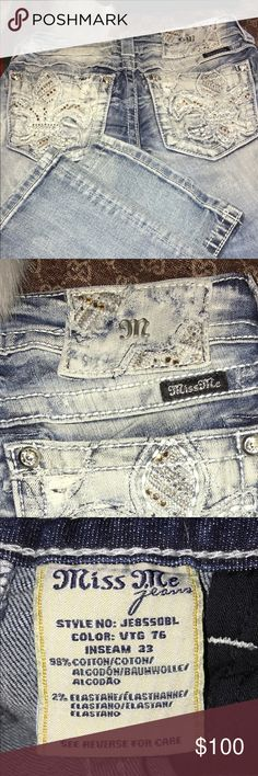 Authentic miss me jeans boot cut... Brand new no tag..tv $200 faded blue... blings on both back pockets....👖✨👖✨👖✨ Miss Me Jeans Boot Cut