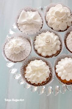 white cupcakes- def wana make these! White Cupcakes, Pretty Cupcakes, Beautiful Cupcakes, Yummy Cupcakes, Cupcake Cookies, Cupcakes Flores, Flower Cupcakes, Lace Cupcakes, Mademoiselle Cupcake