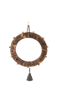 Round Wood Framed Mirror with Terracotta Bell Indoor Rattan Furniture, Wood Framed Mirror, Terracotta, Home Decor, Terra Cotta, Homemade Home Decor, Interior Design, Home Interiors, Decoration Home