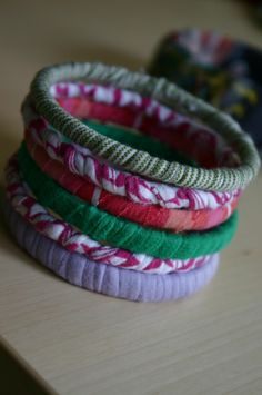 tshirts wrapped around old useless bangles...looks great!