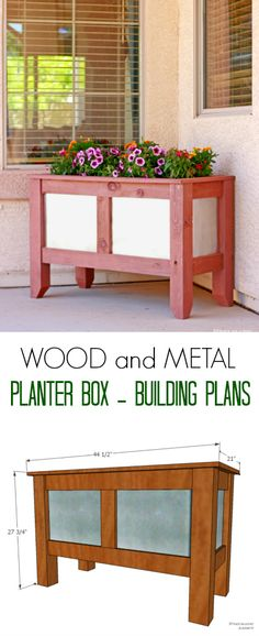 Wood and Metal Planter Box Building Plans. I want this for next year.