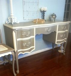Sold/ French Provincial Desk/Vanity with Chair by SaundersDesign on Etsy