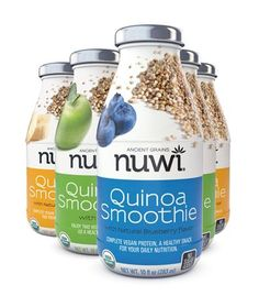 Pure Organic Quinoa 160 calories No sugar added – sweetened with organic agave nectar. No GMO (genetically modified foods and other organisms) The NUWI® Quinoa Smoothie fulfills the dream of using Quinoa in a pure, natural way that leads to a healthy, balanced diet.  Cheers