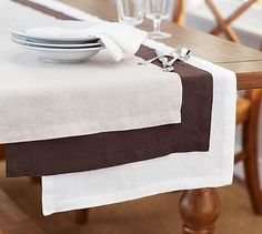 Belgian Linen Flax Everyday Table Runner #potterybarn
