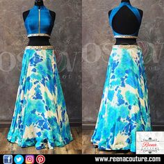 Western skirt top silk base floral skirt and silky top with zipper and Abla border on waist line of skirt and top.  For more details please call or whatsapp on 9819416785 or share your number we will call you.  http://www.reenacouture.com/  #gownsforcheap #designerdressesforcheap #designer #dresses #for #cheap #discounted #sale #customized #western #dress #bridal #replica #Bollywoodlook #plus-size #plus # size #xxxl #xxxxl #5xl #tailors #whole-seller #beautifulCollection #Celebrity #party