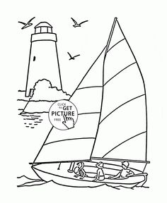 Sailboat And Lighthouse Coloring Page For Kids Transportation Pages Printables Free