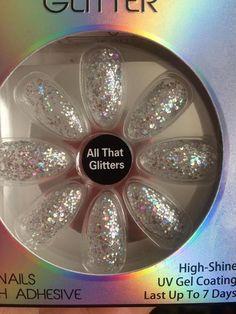 Health & Beauty Fashion False Nails Primark Squareletto Glitter Nails Transparent Shade Spirit