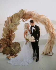 WHITE-ON-BLACK-STUDIO Wedding Ceremony Ideas, Fall Wedding Arches, Palm Wedding, Santorini Wedding, Ceremony Backdrop, Reception, 1920s Wedding, 1920s Party, Wedding Locations