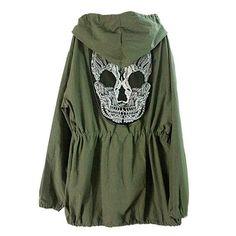 Skull Army Green Jacket Loose Hooded Coat Outwear
