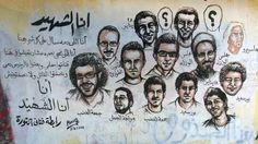 An Egyptian graffiti showing faces of martyrs who died during 25 jan revolution #Egypt #graffiti #streetart #25jan