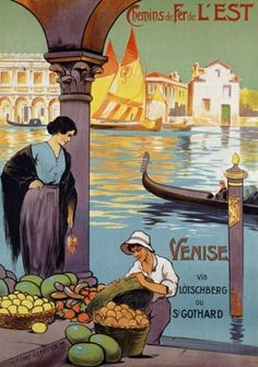 Venise Italy This is a reproduction giclee poster of a vintage fine art deco print featuring a travel advertisement for Venice, Italy. Venice has been known as the ' Queen of the Adriatic', ' City of Water', ' City of Bridges', and ' The City of Light'. Here a woman shops the local fruit market side by side with gondolas coming and going with other goods.