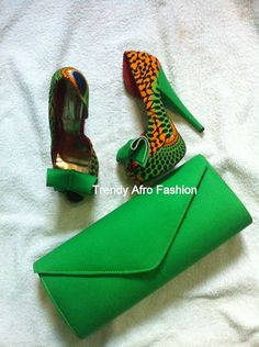 Green Ankara shoe set by TrendyAfrofashion on Etsy ~Latest African Fashion, African women dresses, African Prints, African clothing jackets, skirts, short dresses, African men's fashion, children's fashion, African bags, African shoes ~DK