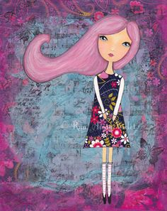 Girl With No Name Whimsical Art Print by Run Away Violet