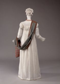 Dress ca. 1810-14...Empire style on the continent, Regency style in England...very simple and elegant.  From the McCord Museum