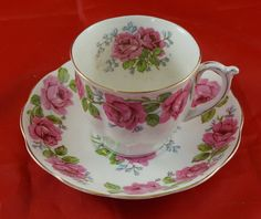 Queen Ann Fine Bone China Cup and Saucer Featuring Red Roses by RarebirdAntiques on Etsy