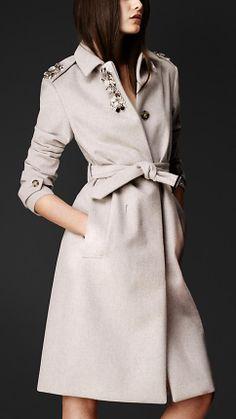 Gem-Embellished Bonded Angora Coat | Burberry