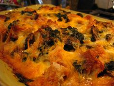 Easy Holiday Breakfast: Spinach and Mushroom Strata