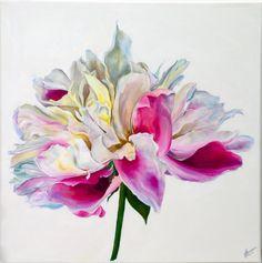 Pintura original de un solo peony en acrílico.  50x50cm cuadrados. 4cm. de profundidad.  Esta pintura es vibrante y elegante.  Obra original firmada por