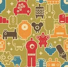 Robots on green.  fabric by panova on Spoonflower - custom fabric