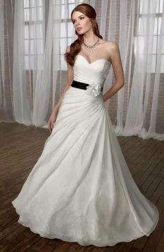 A-line Sweetheart Chapel Train Satin Floor-length Wedding Dresses