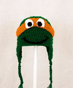 Teenage Mutant Ninja Turtles Earflap Hat, Green Crochet Beanie, send color and size choice baby - adult.  BLUE FOR DRAKE
