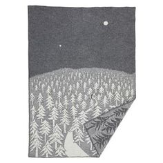 House in the Forest wool blanket - grey - Klippan Yllefabrik