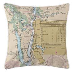 Wilmington Nautical Chart Pillow