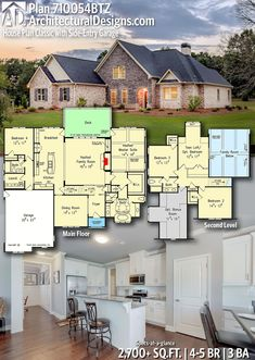 Plan House Plan Classic With Side-entry Garage In 2019 on Amazing Garage Ideas 5518 5 Bedroom House Plans, Dream House Plans, Modern House Plans, House Floor Plans, Custom Home Plans, Custom Homes, Architectural Design House Plans, Architecture Design, Cabin Plans