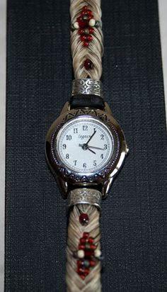 Beautiful White Horse Hair Watch with Red Beading | eBay