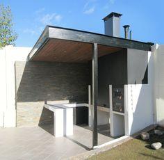 Pergola With Fireplace Refferal: 4932168363 Parrilla Exterior, Barbecue Design, House Outside Design, Pergola Decorations, Casas Containers, Outside Patio, Garden Deco, Modern Backyard, Wooden Pergola