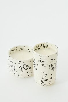 Speckled Black + White Ceramic Soy Candle
