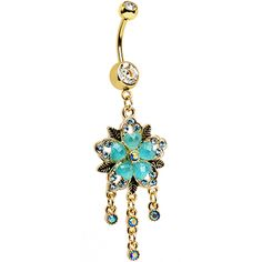 Clear Aqua Aurora Gem Gold Anodized Heart Flower Dangle Belly Ring | Body Candy…