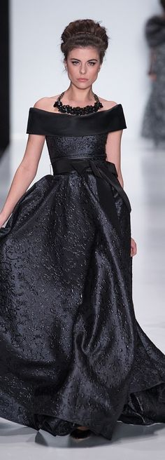 Zac Posen ~ Black Off the Shoulder Ball Gown w Embroidery details 2014