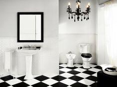 aristokratisches badezimmer einrichten - weiß und schwarz kombinieren