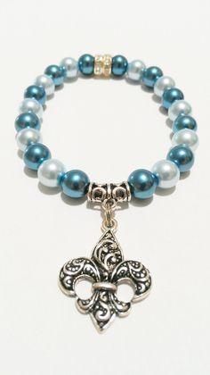 Fleur De Lis Bracelet Blue / Fleur De Lis  by VickysLittleSecrets, $10.99