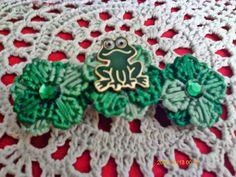 Frog Green Flower Barrette by angelsandcrafts on Etsy, $6.00