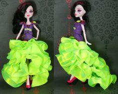 Vêtements haute monstre main fait robe, tenue Monster High, Monster High Fashion, Monster Doll, vert violet pourpre, robe de bal, Boléro