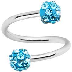 16 Gauge Aqua Ferido Crystal Ball Spiral Twister Ring | Body Candy Body Jewelry
