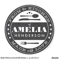 Made With Love Food Gift Sticker chalkboard