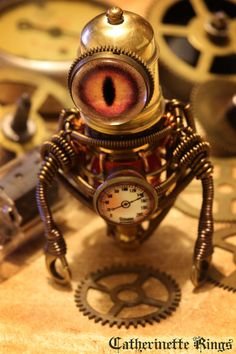 Steampunk Jewelry Steampunk Rings & Sculptures by CatherinetteRings Steampunk Rings, Steampunk Diy, Steampunk Fashion, Steampunk Circus, Steampunk Dress, Diesel Punk, Cyberpunk, Robot Art, Robots